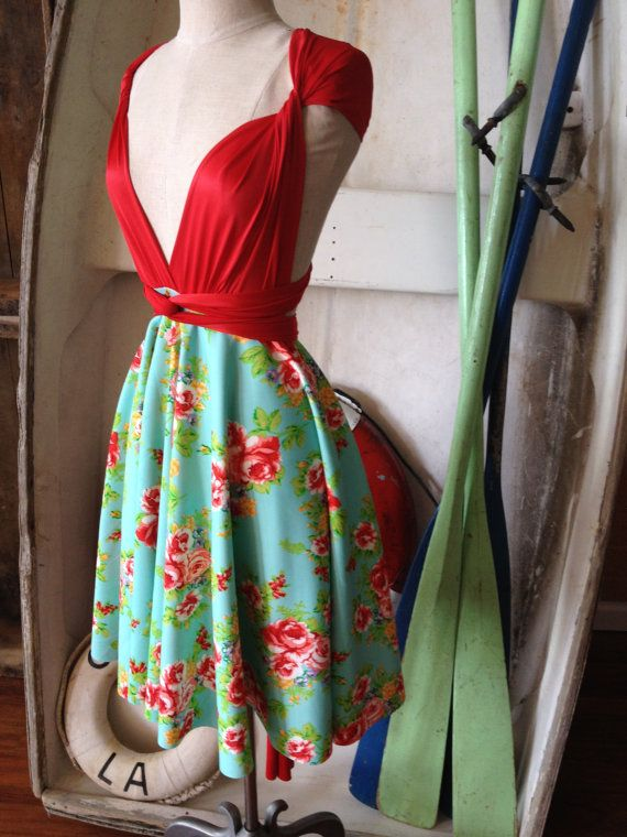 Frida Aqua Floral Octopus Infinity Wrap Dress with Coney Island Red Satin Straps