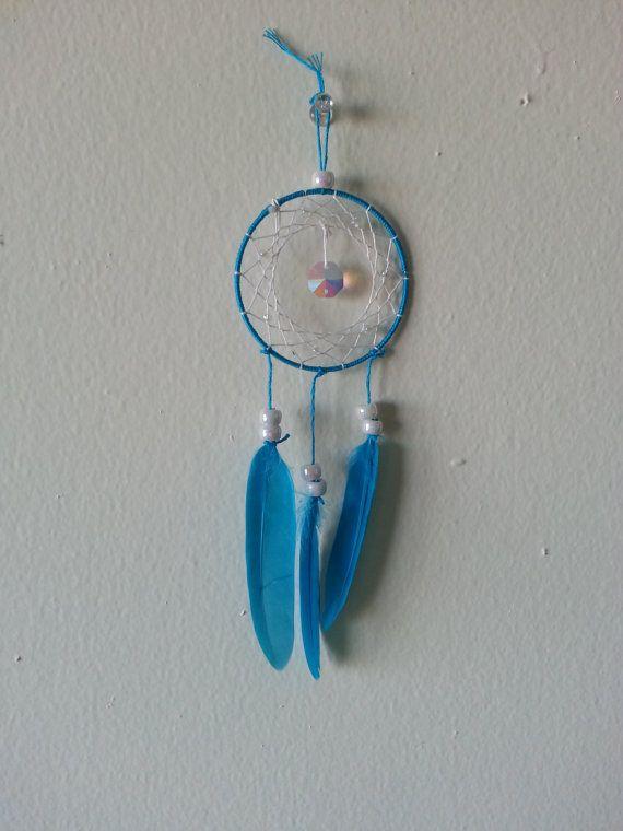 Small vibrant blue gem dreamcatcher by xXDayDreamerXx on Etsy, $10.00