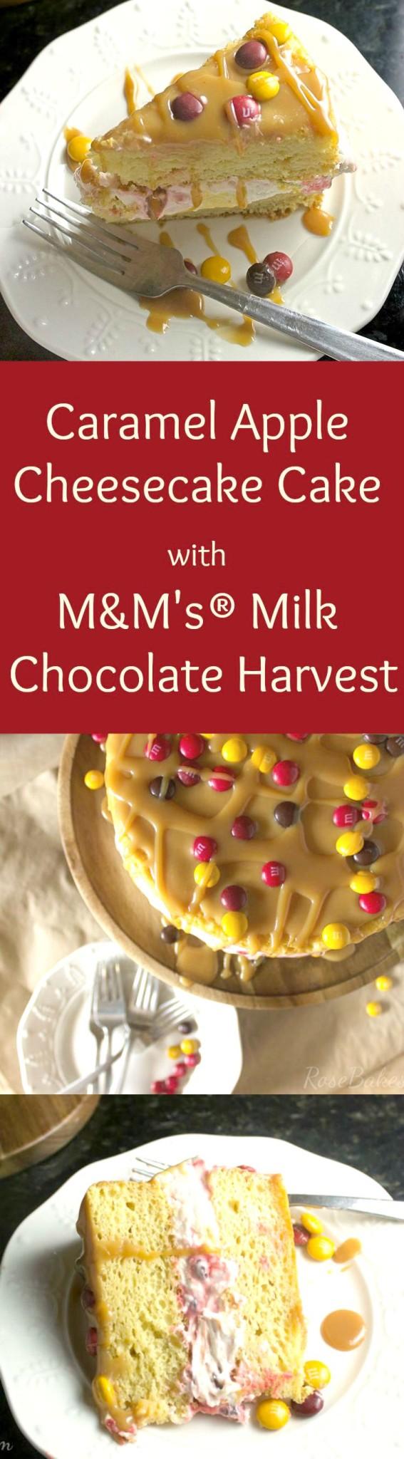 Caramel Apple Cheesecake Cake With M M S Milk Chocolate Harvest