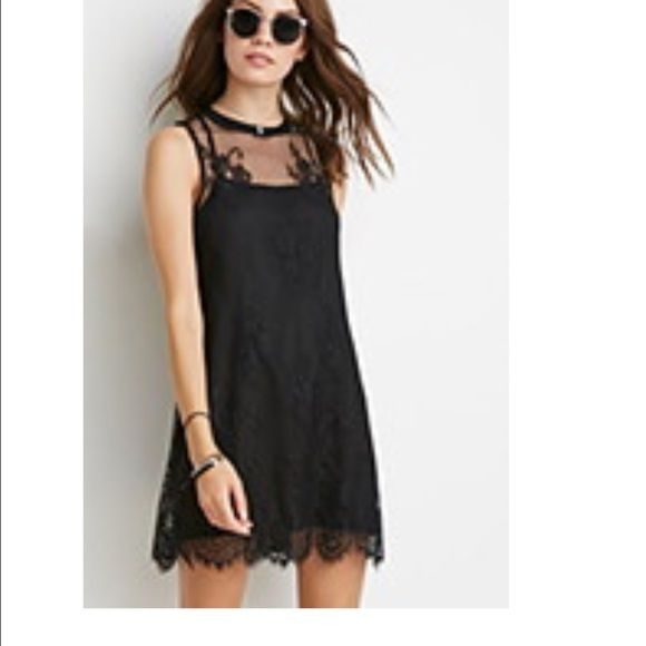 Black Lace Dress Brand new with tags! Two layers. Key hole & button behind neck. See through shoulder/chest area. Forever 21 Dresses Mini