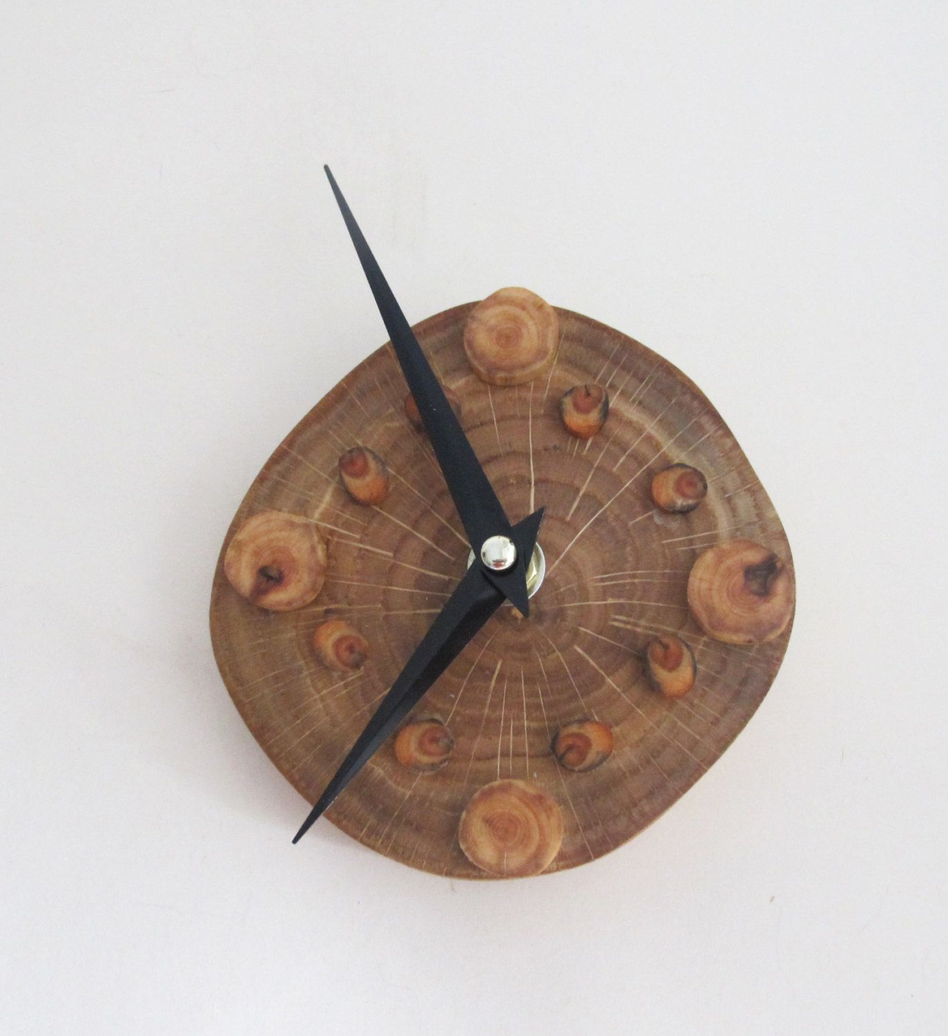 Oak wood slice wall clock small reclaimed wood clock wood wall art