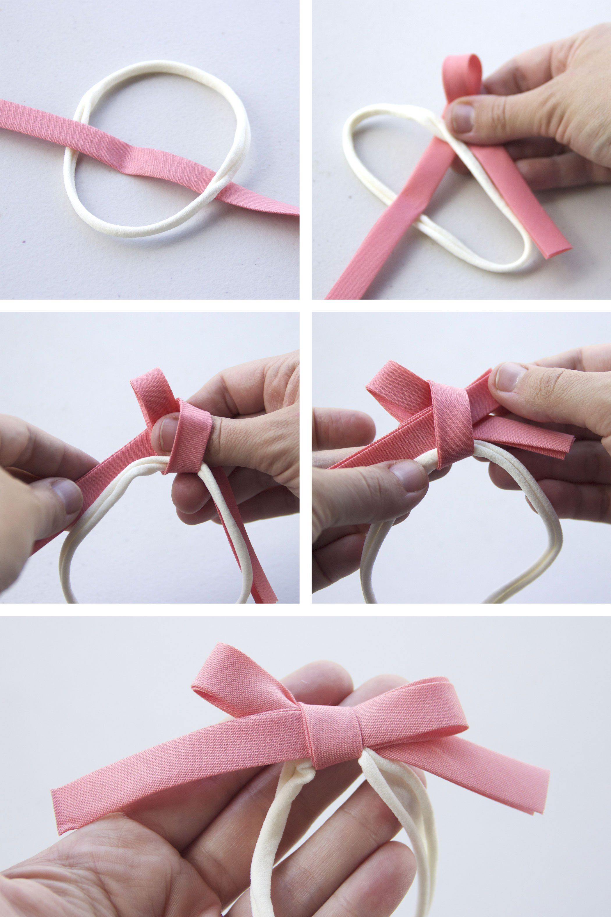 Easy No-Sew Bias Tape Hair Bow Tutorial
