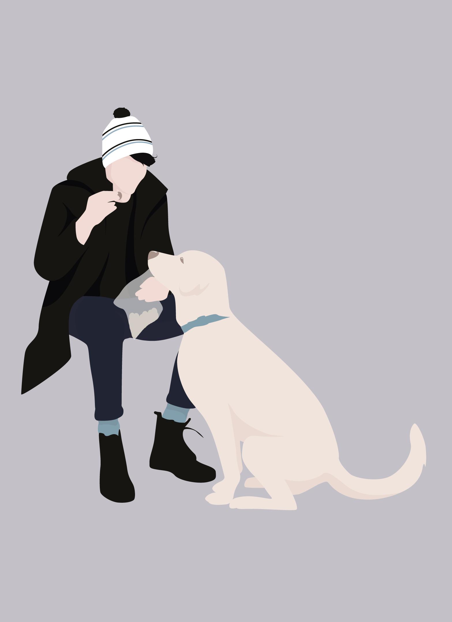 Flat Vector Proud Dog Owner Illustration Drawing People People Illustration Illustration