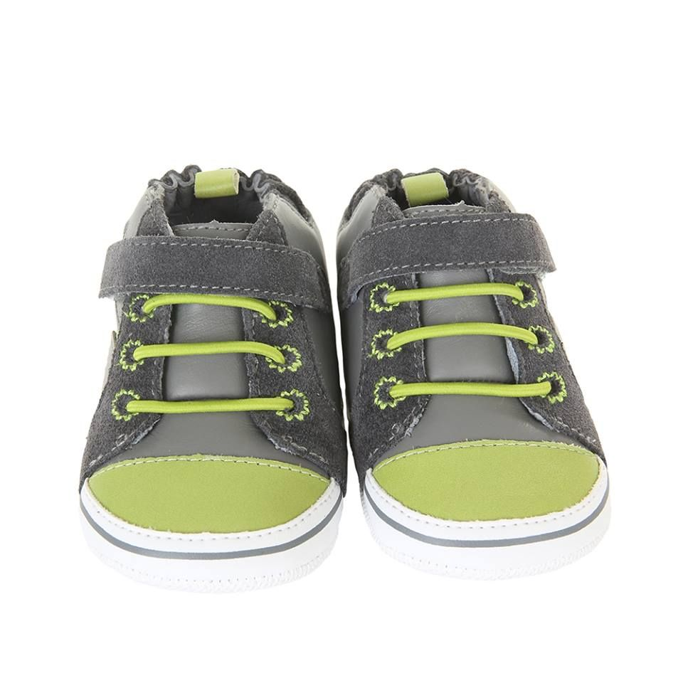 Robeez mini shoez. Grey-Leather and Man Made Uppers- Rubber Outsole