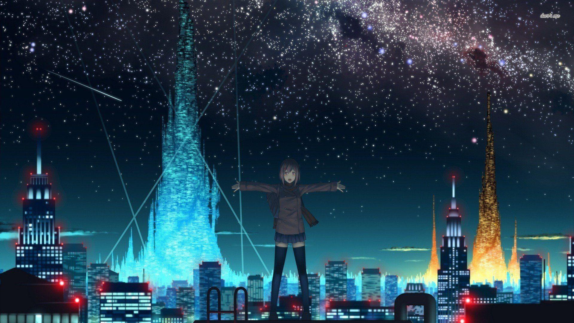 Anime Starry Night Sky Wallpaper Background Monodomo in