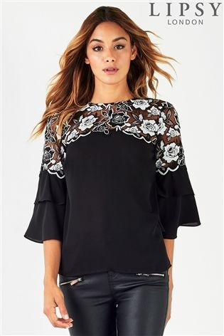 79721996c8f0bf Lipsy Mono Lace Frill Sleeve Top | Work outfits | Buy shirts, Tops ...