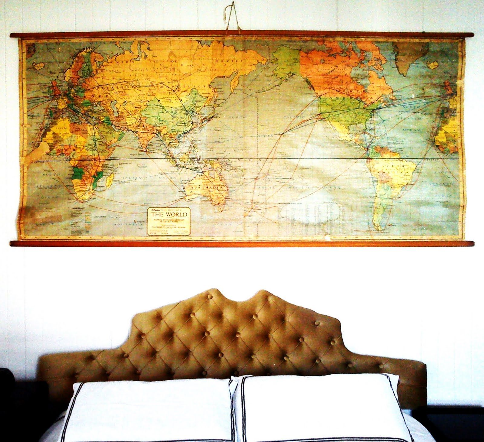 1950's World map and bedhead