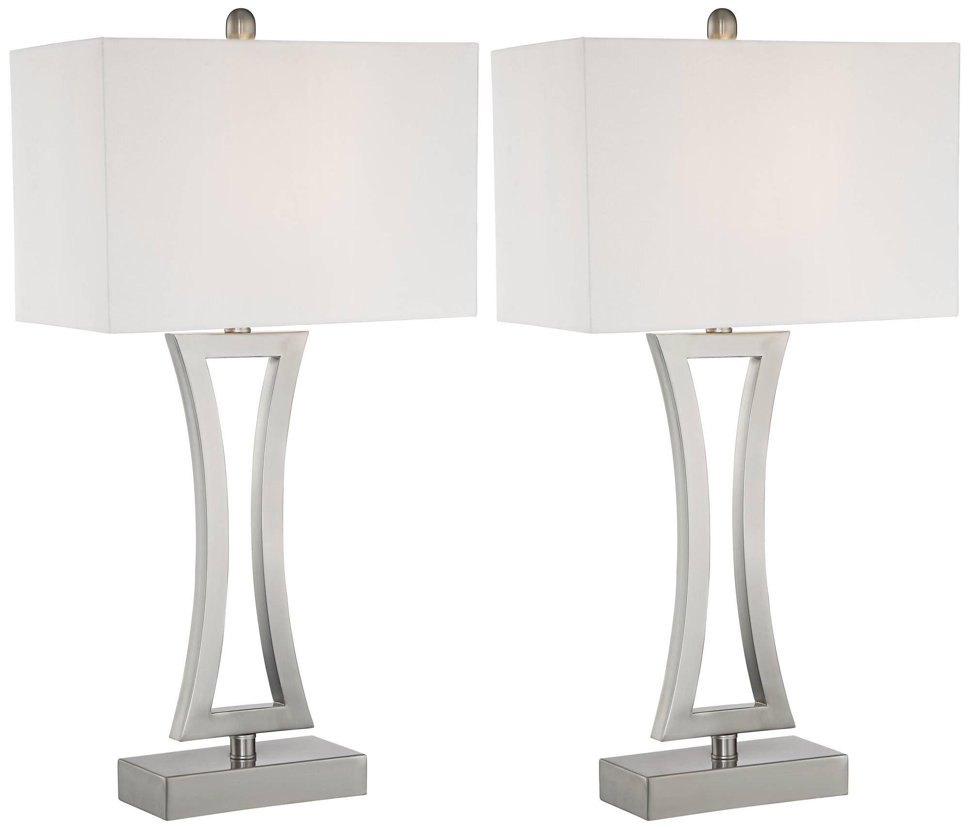 Roxie Brushed Nickel Metal Table Lamps Set Of 2 11p72 Lamps Plus Metal Table Lamps Table Lamp Lamp