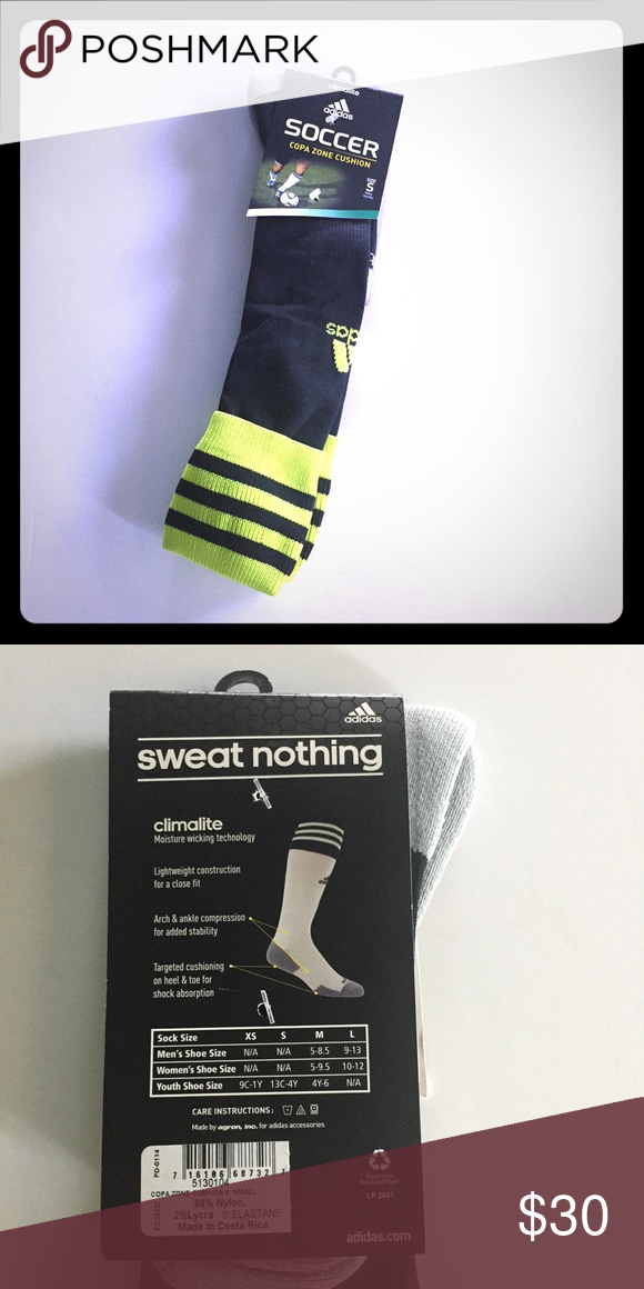 Adidas Climalite Soccer Sports Socks Sport Socks Neon Green Top Black Adidas
