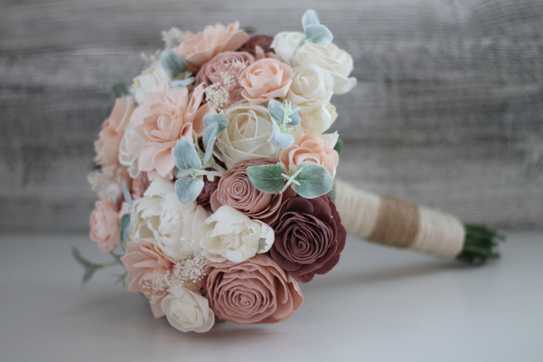 Shabby chic bridal bouquet wooden flowers shabby chic wedding shabby chic bridal bouquet wooden flowers shabby chic wedding collection pink and blush izmirmasajfo