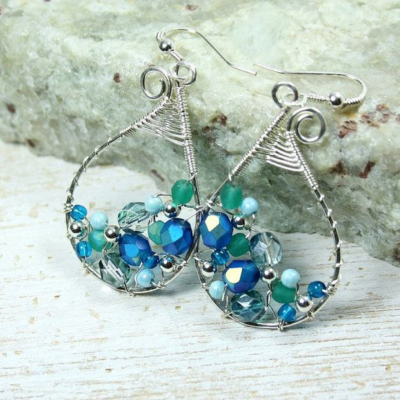 Mokimom Blue Paisley Earrings Silver Plated Wire by JKFoster, $9.50 ...
