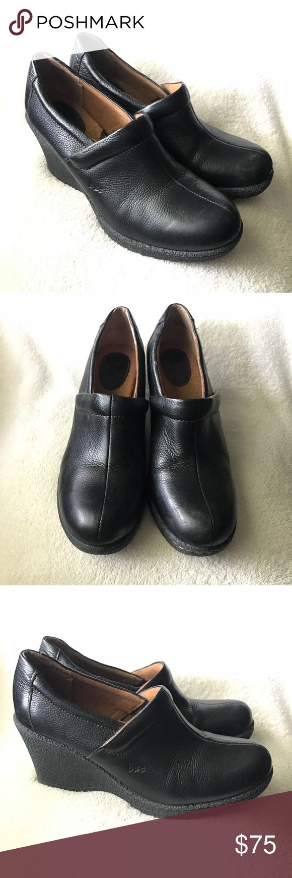 """97191f4ed94 BOC By BORN Black Wedges Shoes FEATURES Very comfortable Wedges by BORN •  Sz  9 • Color  Black • Heel  3.25"""" • Shoes have a Platform of Approx .75""""  ..."""