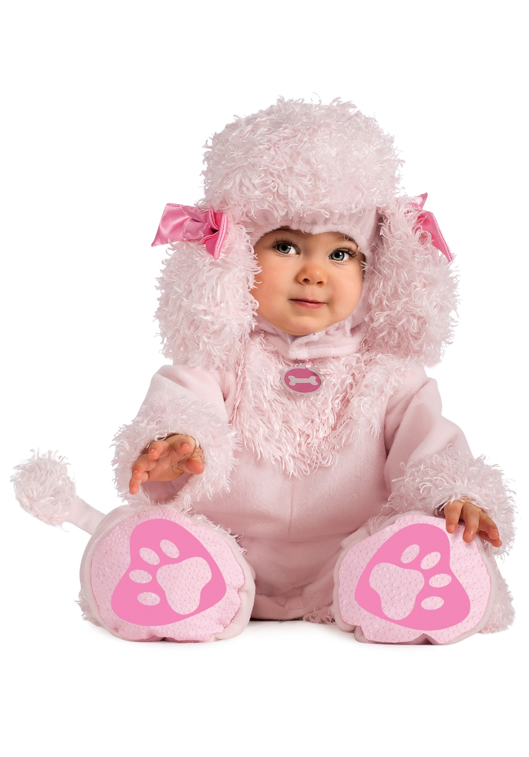 Adorable Baby Poodle Costume Includes A Soft Pink Romper With Tail Feet And Matching Fluffy Headpiece Cute Comfortable For Babys First