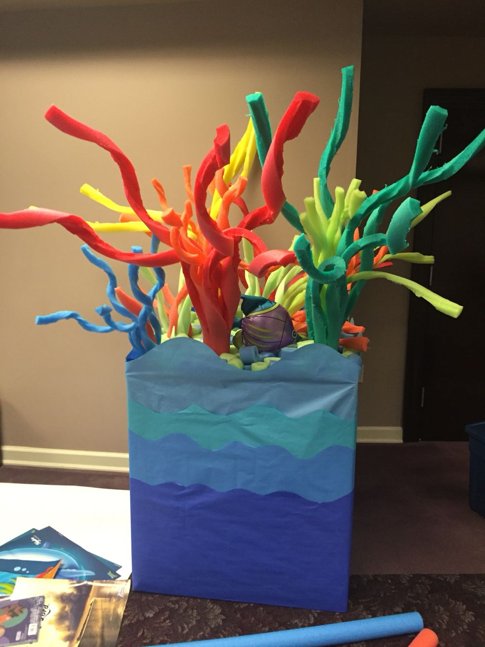 Pool Noodles Butcher Paper And A Cardboard Box To Make A