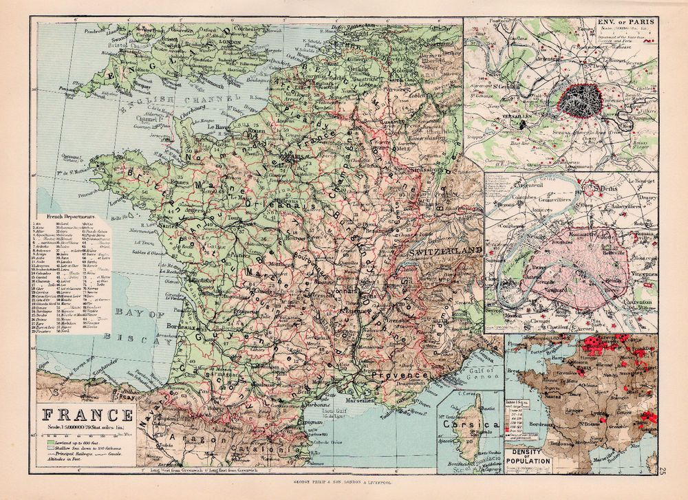 Large Scale Map Of France.Map Of France Original Large Color Antique Map 1894 Istoria