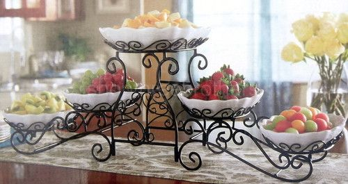 New 3 Tier Buffet Server 5 Stoneware Serving Dishes Wrought Iron Stand Catering & New 3 Tier Buffet Server 5 Stoneware Serving Dishes Wrought Iron ...