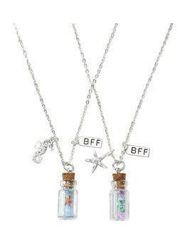 Girls Best Friends Silver Pink Sparkling Unicorn Necklace Pendant Set Gift S