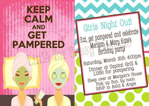 Spa Pampering Girls Night Out Invitation by LittleBitSassy on Etsy