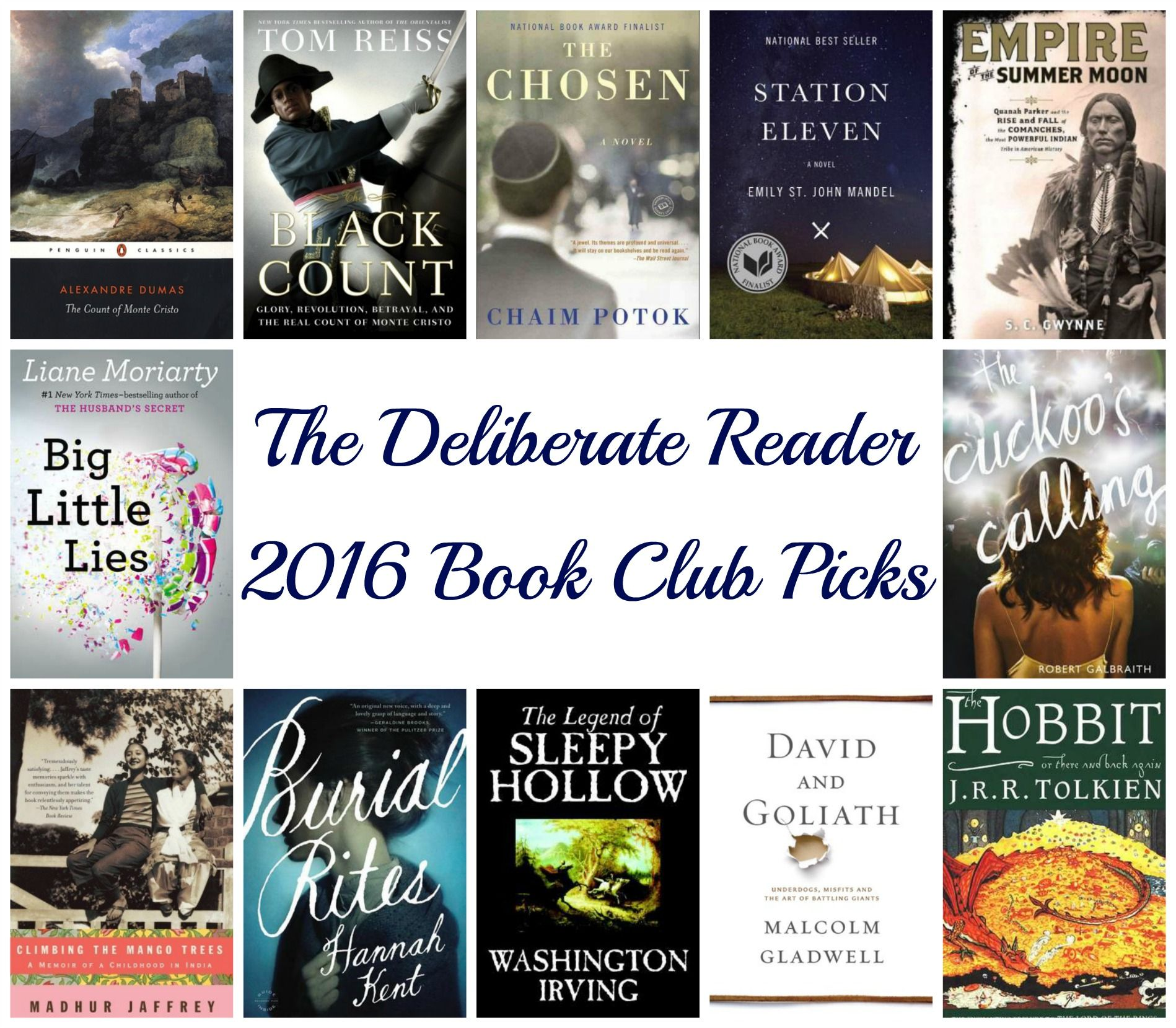 The Deliberate Reader: 2016 Book Club Selections   I'm thinking I might  read along with this book club in 2016!