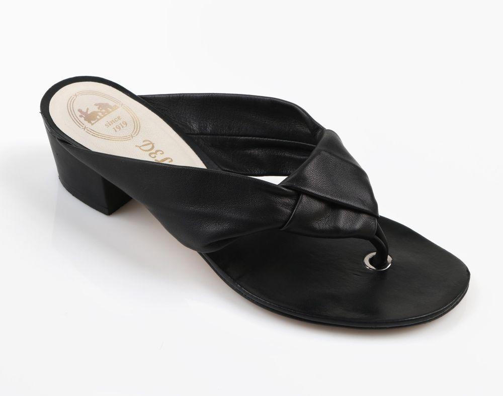 Black leather sandals low heel - Delman Black Leather Flip Flop Style Sandals Low Heels Slides Sz 7 5 M Delman