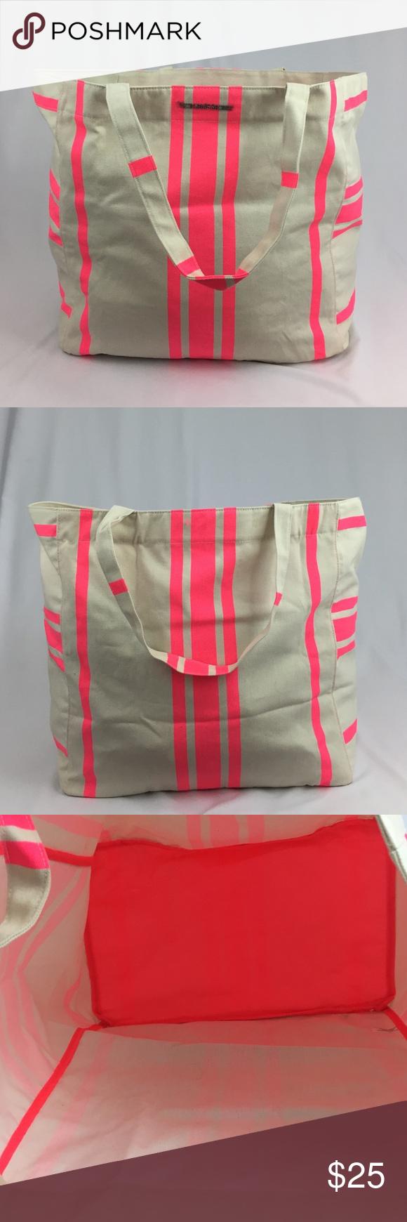 🆕😍 Victoria's secret striped tote bag Victoria's secret striped canvas tote bag Victoria's Secret Bags Totes