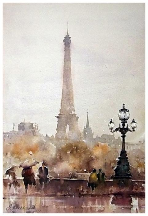 Autumn In Paris Watercoloron Paper Djukaric Dusan Art For Sale