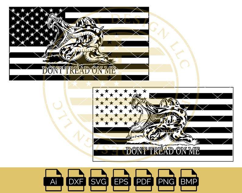 Modern Gadsden Snake American Flag Gadsden Flag Digital File Dxf Cnc Cricut Silhouette American Flag Patriotic Flag Dxf