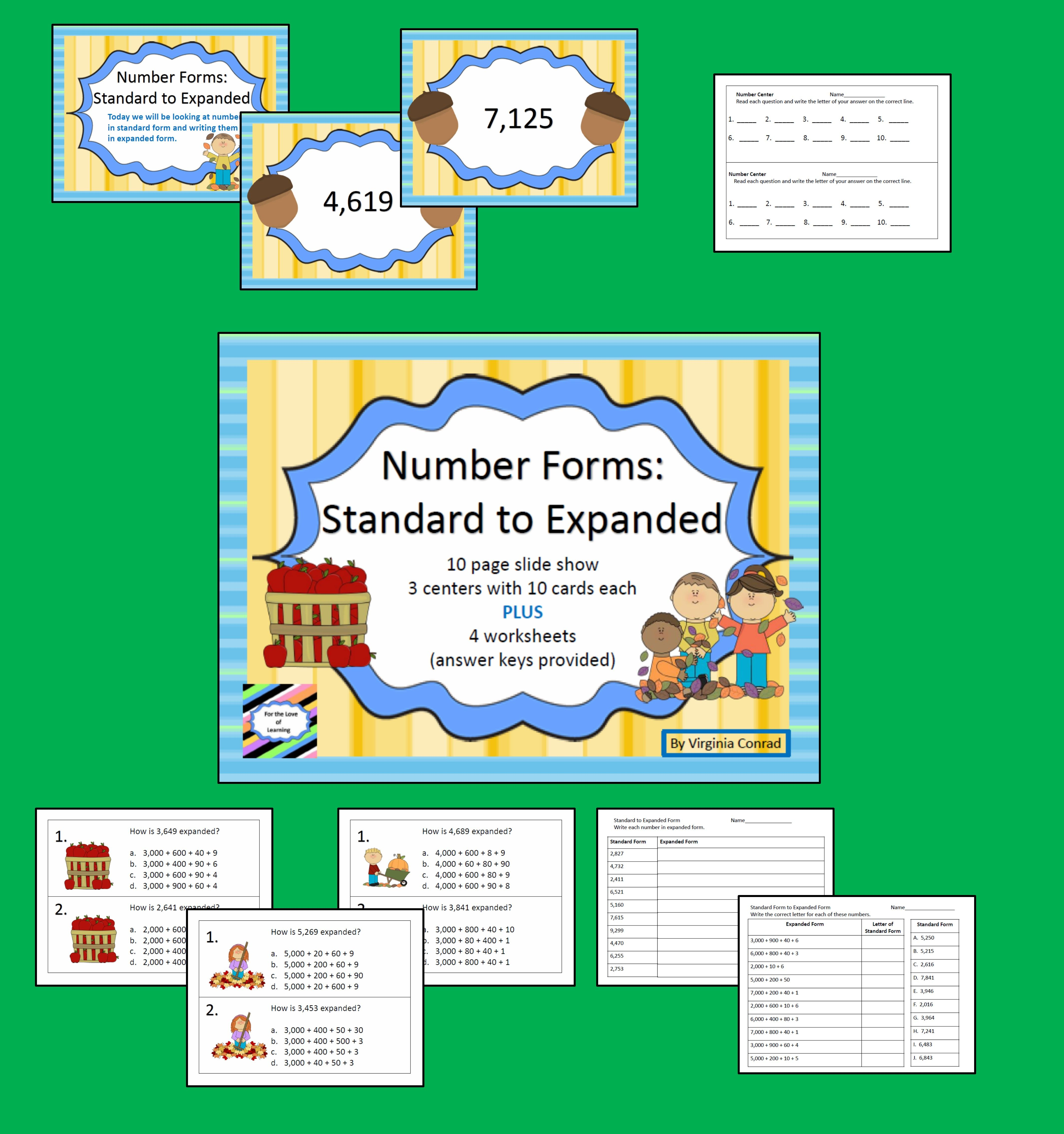 Number Forms Standard To Expanded Fall Theme