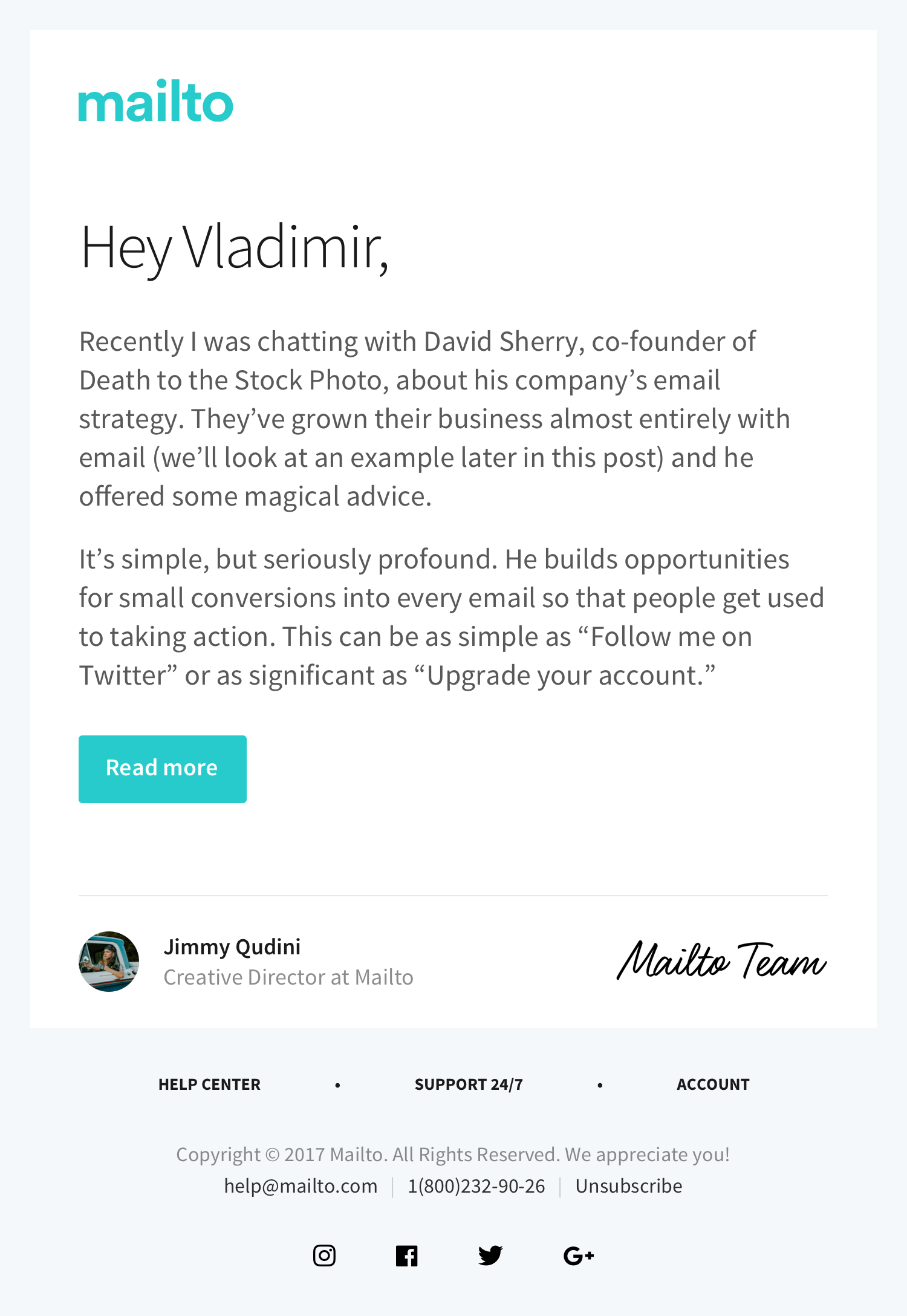 Email template with personal message in HTML | Email
