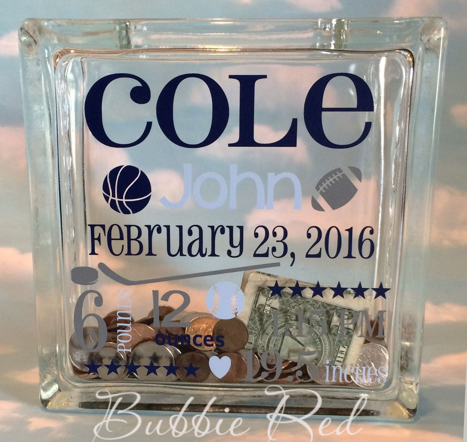 Personalized baby boy glass block piggy bank custom piggy bank personalized baby boy glass block piggy bank custom piggy bank custom glass negle