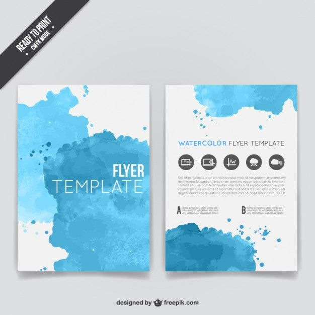 Watercolor flyer template Free Vector Watercolor - free leaflet template word