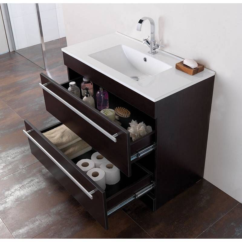 Bathroom Accessories Victoria Plumb odessa wenge floor mounted 900 drawer unit & basinone piece inset