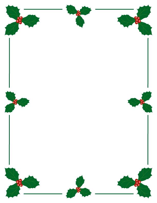 Holly And Berries Christmas Border This Free Printable Border And More Holiday Borders At Free Prin Free Christmas Borders Christmas Boarders Printable Border