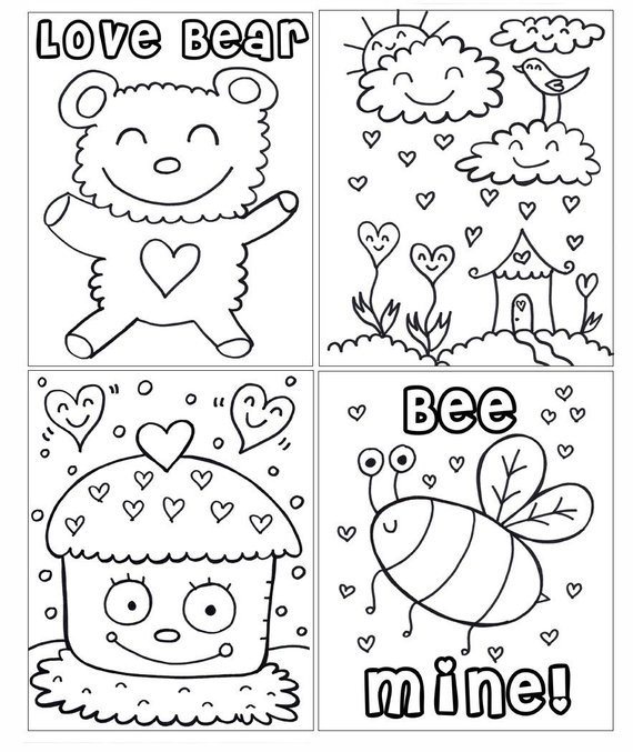 Pdf Printable Digital Coloring Book Valentines Day Etsy Valentine Coloring Pages Valentine Coloring Valentine Coloring Sheets