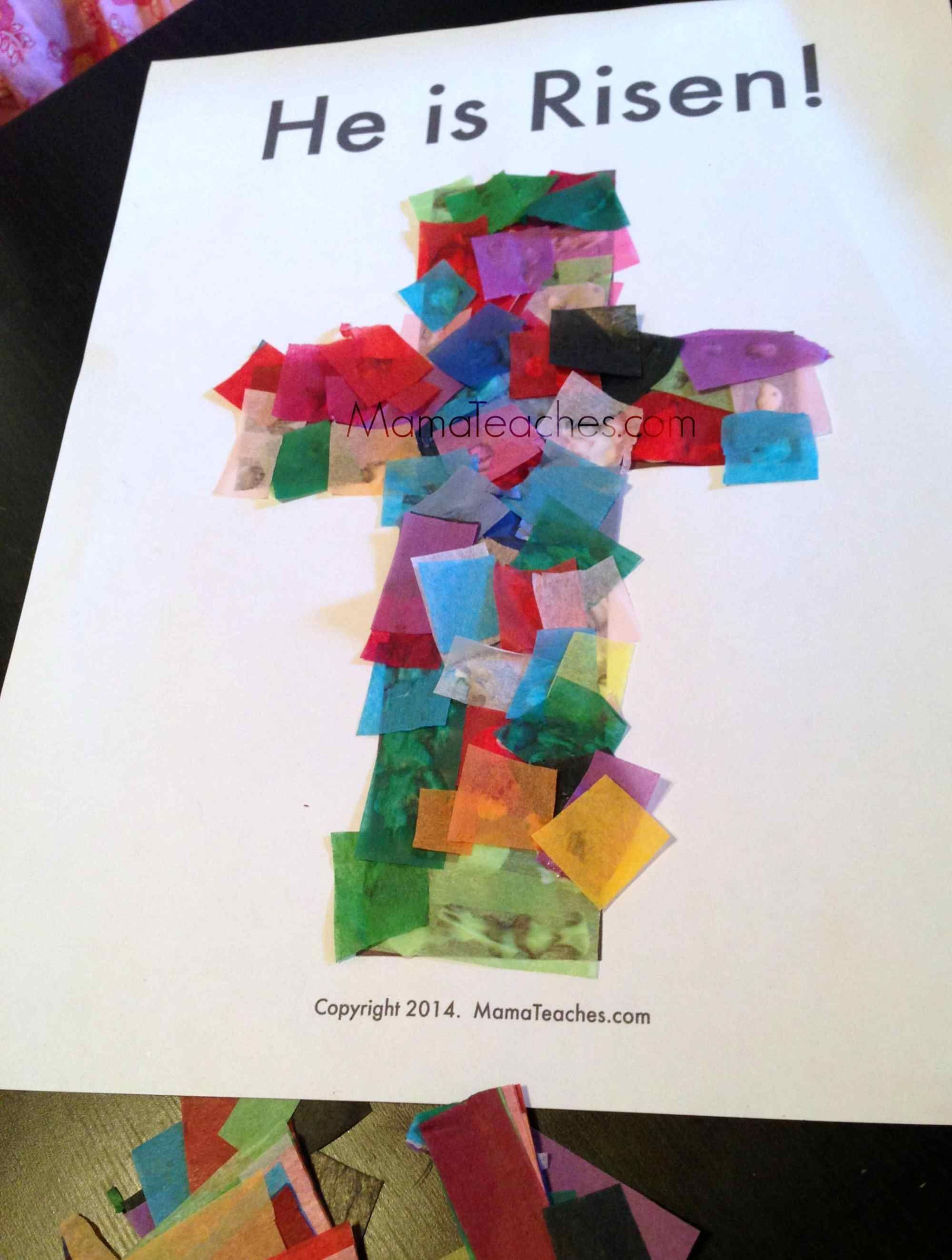Easter Tissue Paper Cross Craft Activity For Kids