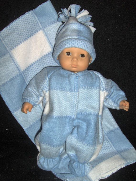 Blue Fleece Sleeper, Blanket and Hat Doll Clothes Made To Fit Bitty ...