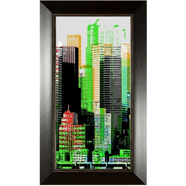 "Universal Lighting and Decor Skyscraper I 35 3/4"" High Wall Art ($135) ❤ liked on Polyvore featuring home, home decor, wall art, art, cities, green, universal lighting and decor, abstract home decor, green home decor e abstract wall art"