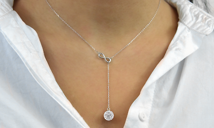 Swarovski Elements Infinity Y Necklace in Sterling Silver