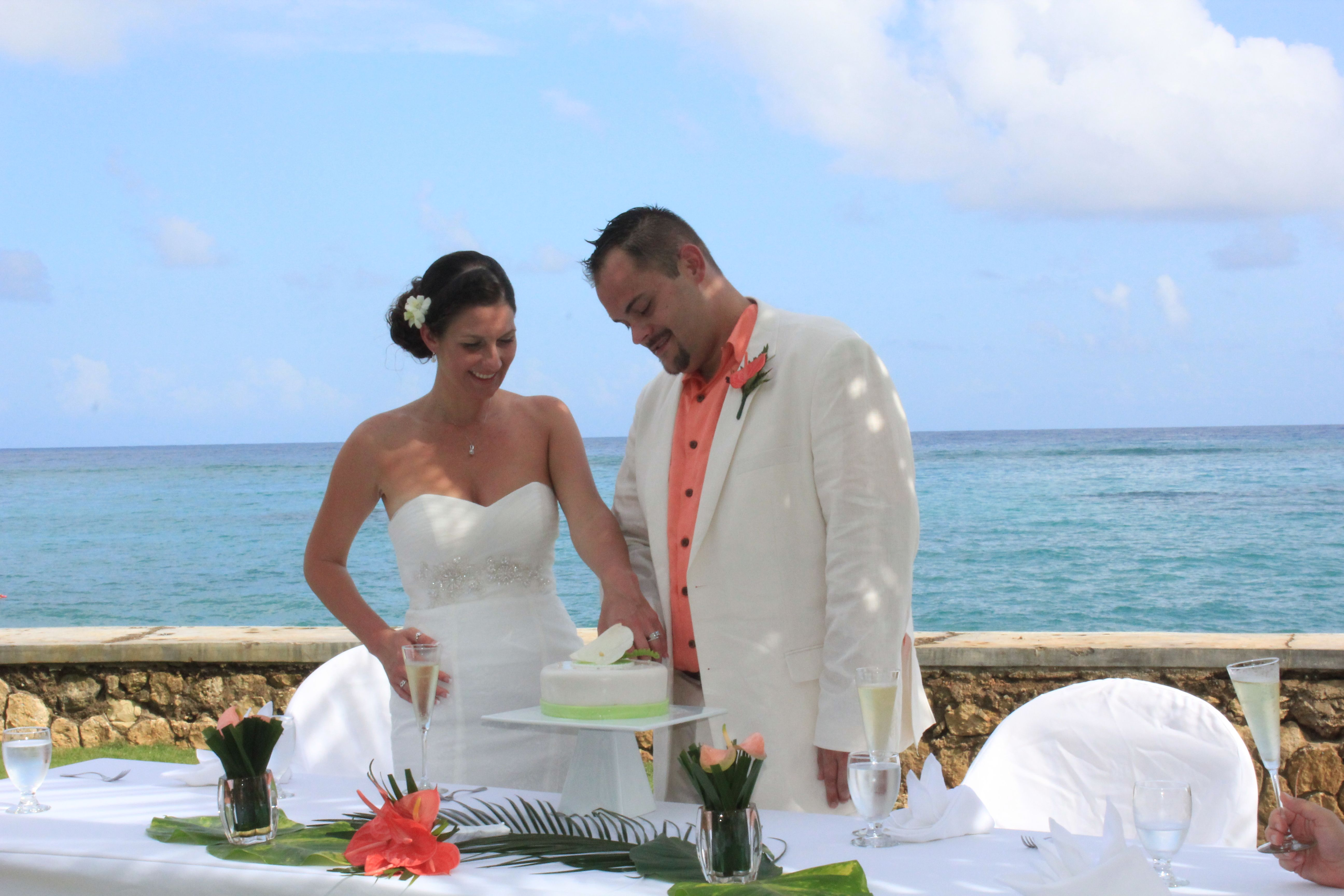 Cutting The Cake At Couples Tower Isle #Jamaica