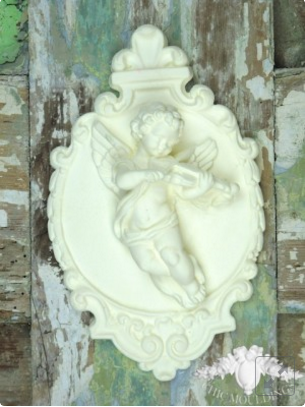 PRETTY SHABBY CHIC VINTAGE STYLE  CHERUBS  //FURNITURE// PLAQUE  MOULDINGS
