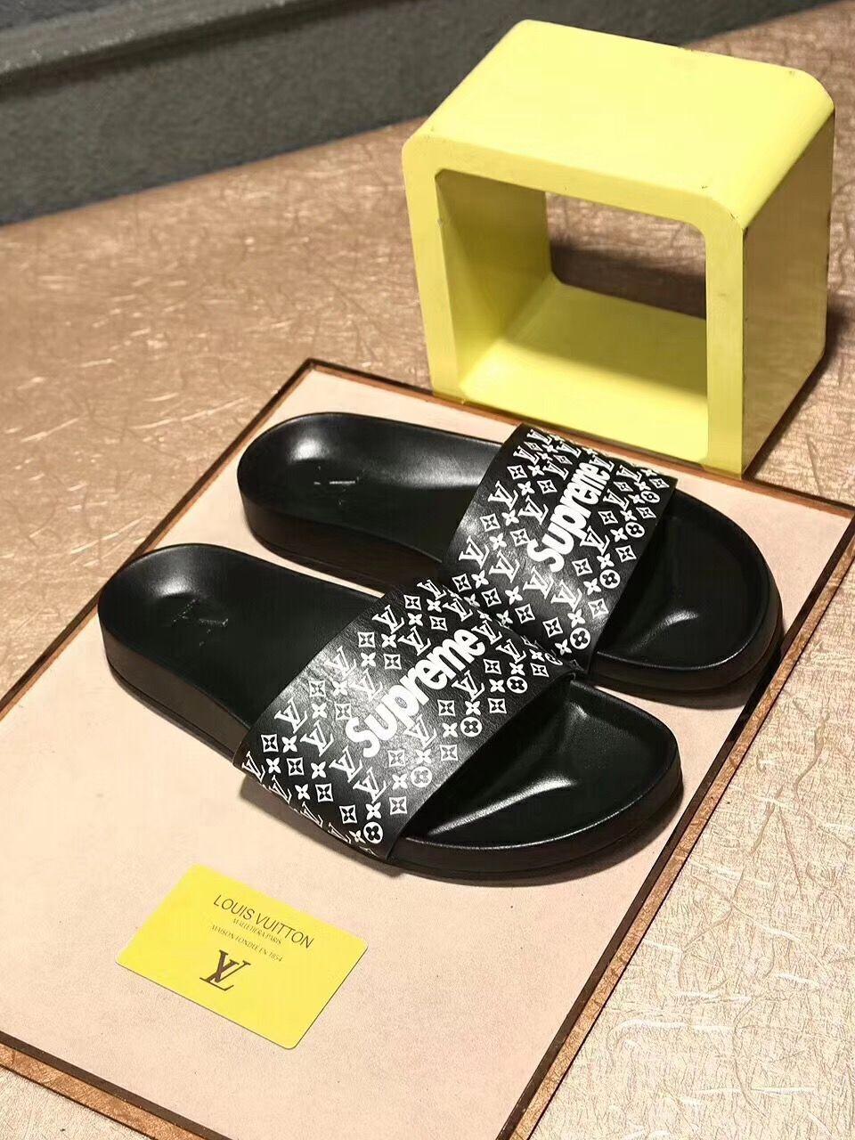 louis vuitton supreme slippers   Louis vuitton, Slippers