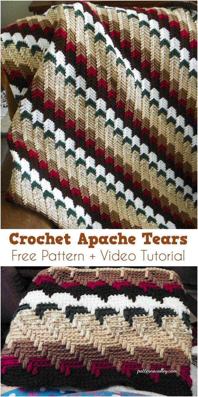 Free pattern] Apache Tears Crochet Afghan + Video Tutorial | Manta ...