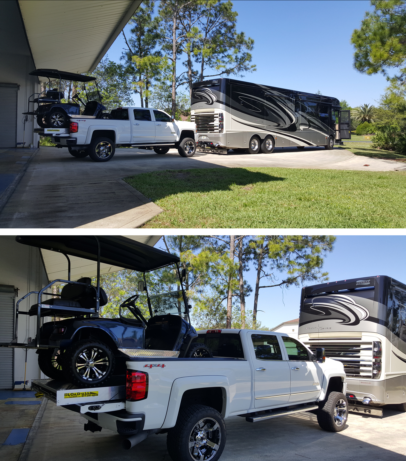 Leaving Nothing Behind - Motor-home towing Chevrolet with ... on ford truck bed extender, kayak truck bed extender, chevrolet truck bed extender, hyundai truck bed extender, golf cart truck ramps, golf cart roof extender, nissan truck bed extender, golf cart wheel extender,