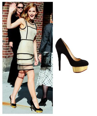 Emma Watson Platform High Heel Black Shoes