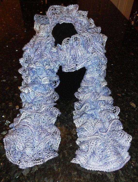 Blue And Purple Hand Knit Sashay Metallic Ruffle Scarf Purple