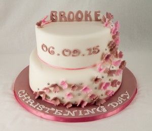 Vintage Pink Christening Cake with loads of butterflies