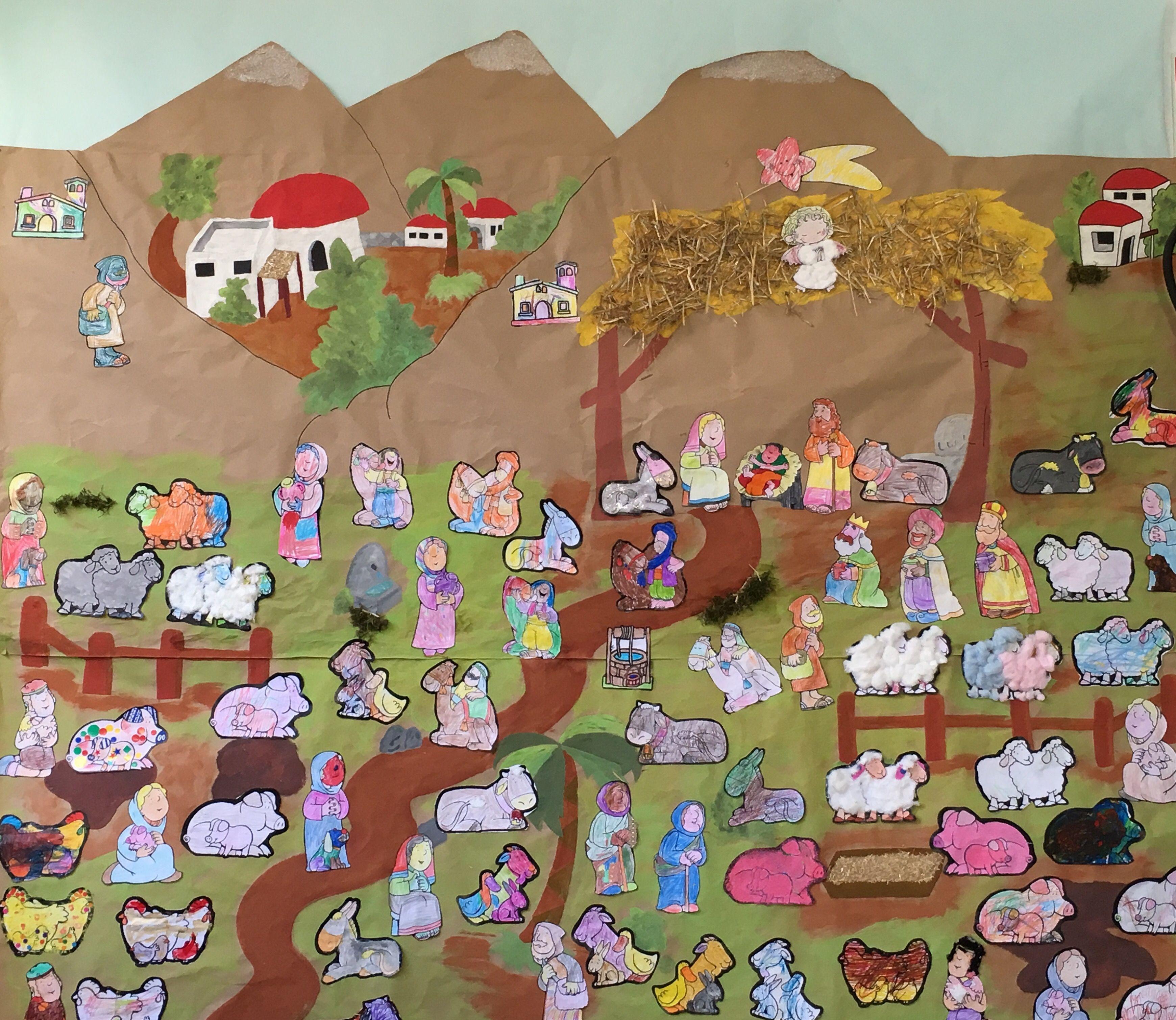 Belen de infantil en mural navidad christmas crafts - Murales decorativos de navidad ...