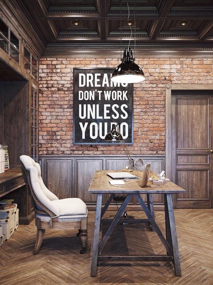 Distressed Grey Wood Wainscoting And Used Brick Wall Herringbone Pattern Floor Worn Table Office Desk Comfy Chair