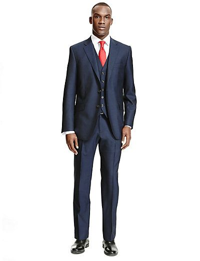 Navy Tailored Fit Suit Including Waistcoat   M&S
