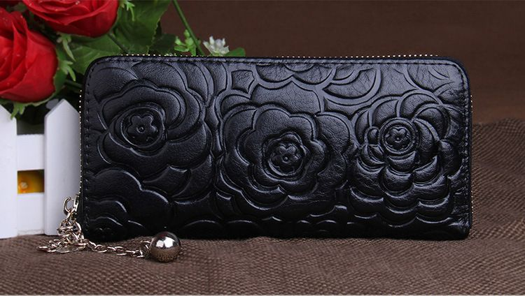 Free shipping, Rose Flower Pattern Real leather Women's Zipper Wallet, Clutch Bags, 8 Cards Holders, Lover's Gifts,
